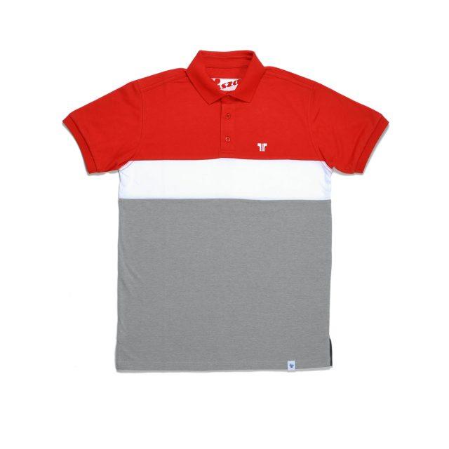Tisza cipő - Galléros póló - Piros-fehér-szürke