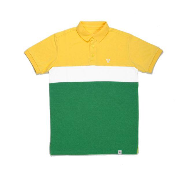 Tisza cipő - Galléros póló - Sárga-fehér-zöld