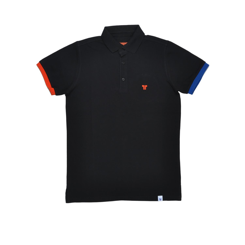 Tisza cipő - Galléros póló - Fekete-piros-kék